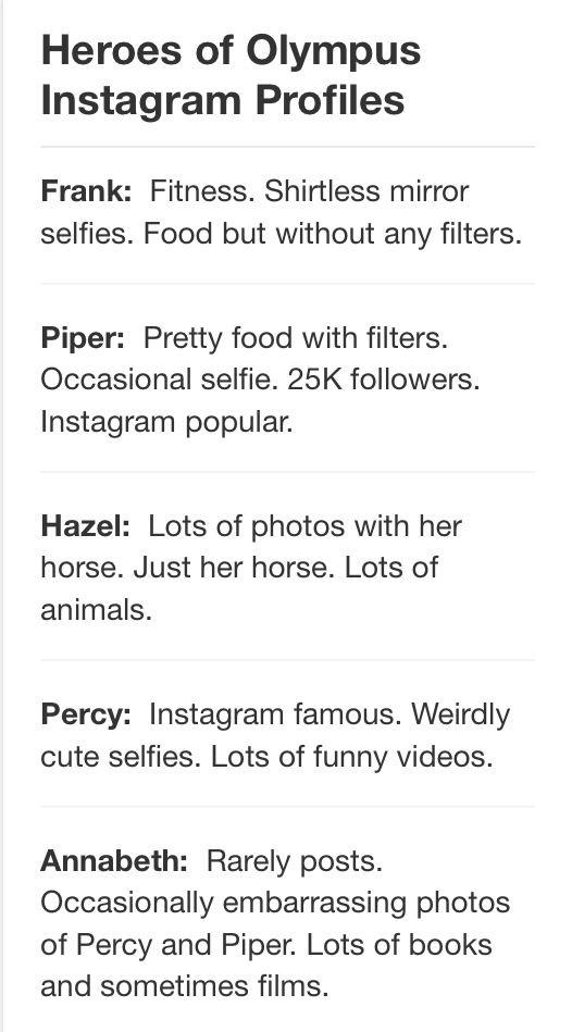 Heroes of Olympus Instagram profiles Part 1...
