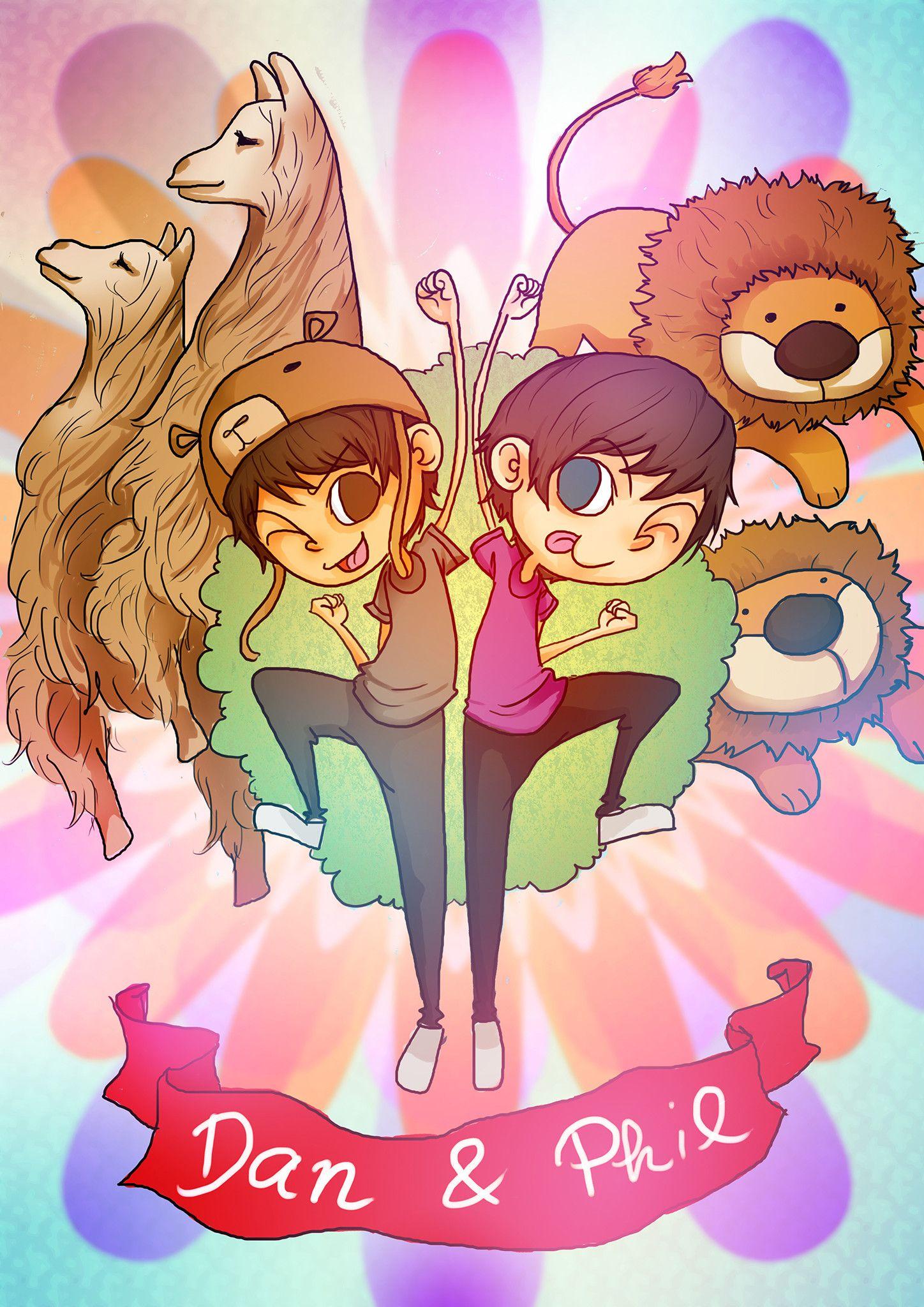 Dan and Phil Cartoon Poster