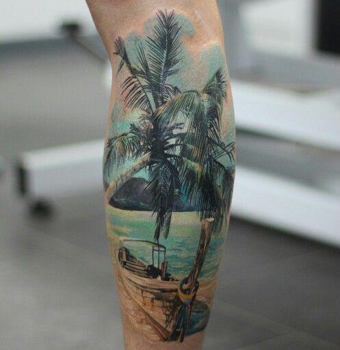 Tattoo sea palm sun