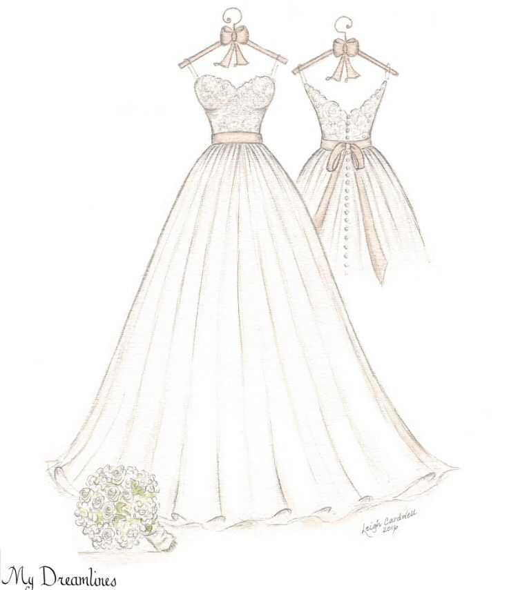 Wedding Dress Sketch And Suit Framed Given As A Gift From The