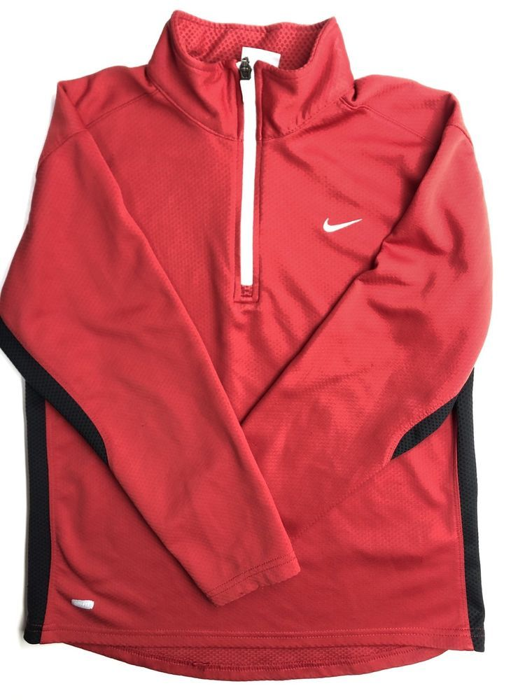 6d4171541 Nike Boys Youth Size M 10-12 Red Pullover 1/4 Zip Long Sleeve Dri-Fit Shirt  #Nike #ShirtsTops #Everyday