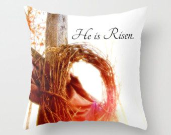 Christian Pillow, Faith Home Decor, Christian Decor, He Is Risen, Bible  Decor