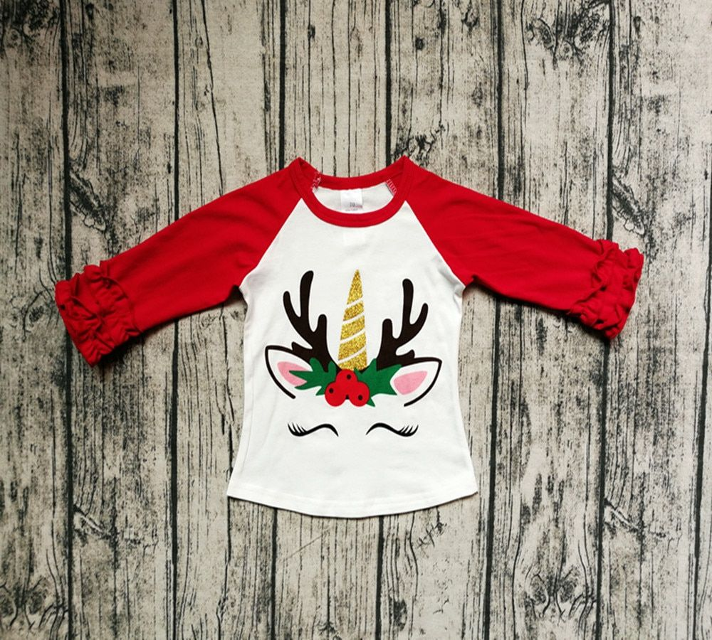 Baby Kid Girl Icing Ruffle Unicorn Top Raglan Long Sleeve Shirt Birthday Party