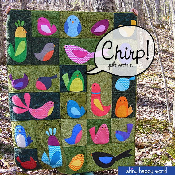 Chirp  a bird applique quilt pattern (PDF, digital pattern, instant download) is part of Bird applique, Applique quilt patterns, Bird quilt, Quilt patterns, Applique quilts, Quilts - 8 yard binding fabric Other Materials  batting (I love Warm & Natural 100% cotton batting)  black thread for embroidering the eyes (if using needleturn or machine applique technique) solid black fabric for eyes (if using fusible adhesive applique)  freezer paper (if using applique with freezer paper method)  fusible adhesive (if using applique with fusible adhesive technique   I recommend SoftFuse for extra softness or Printable Fusible Adhesive [what I used] for no tracing and less fraying  You'll need 24 printable sheets for crib size, 29 printable sheets for napping size, and 60 printable sheets for the twin size ) Fabric My quilt is made from fabrics from Timeless Treasures  The green background blocks are all from the Tonga Java Blenders collection  The birds are a variety of mostly brightlycolored prints from the Sketch, Ziggy, Rain, and Dream collections  Difficulty I designed this quilt to teach applique   so it's great for beginners, and a fun and relaxing project for more experienced stitchers  If you can use your sewing machine, you have the skills you need to make this quilt  You Can Do It! Are you ready to make this quilt  It's a PDF pattern so you'll get it instantly  )