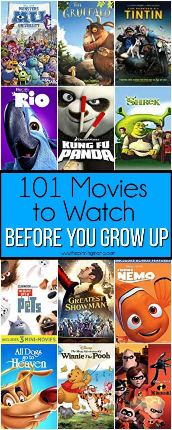 101 Movies to Watch before you grow up. Kid movies, Kid