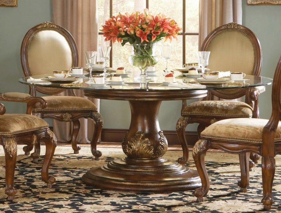 Genial Round Glass Top Dining Table And Chairs Dining Room Designs: Luxury Dining  Set Wooden Carved