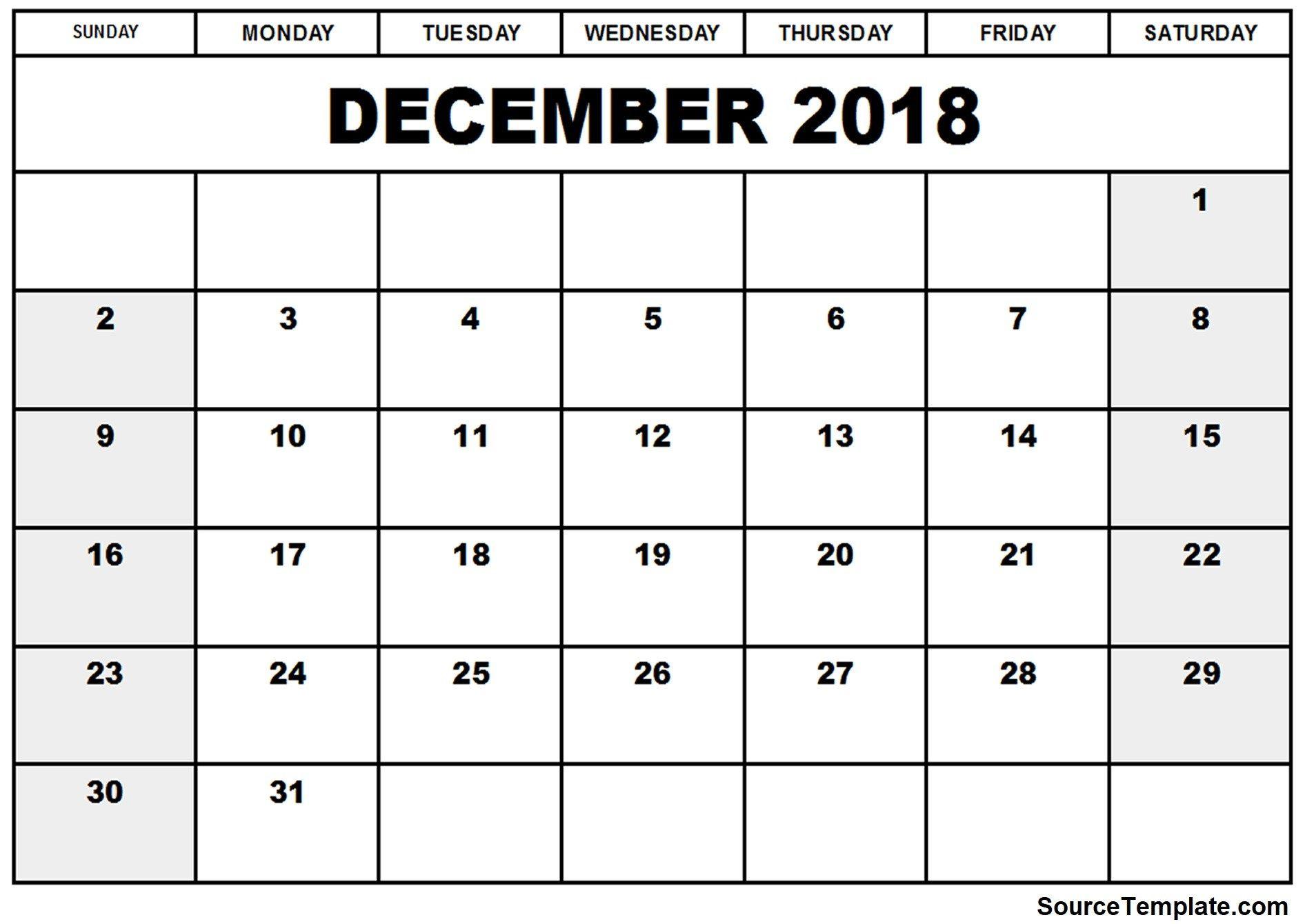 Free 5 December 2018 Calendar Printable Template November