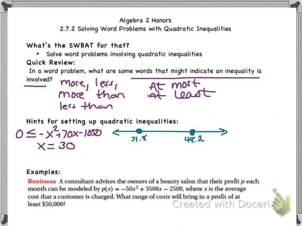Quadratic Inequalities Worksheet With Answers