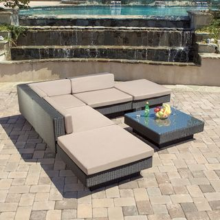 Christopher Knight Home Santorini Outdoor Six Piece Black Wicker Sofa Set |  Overstock™ Shopping
