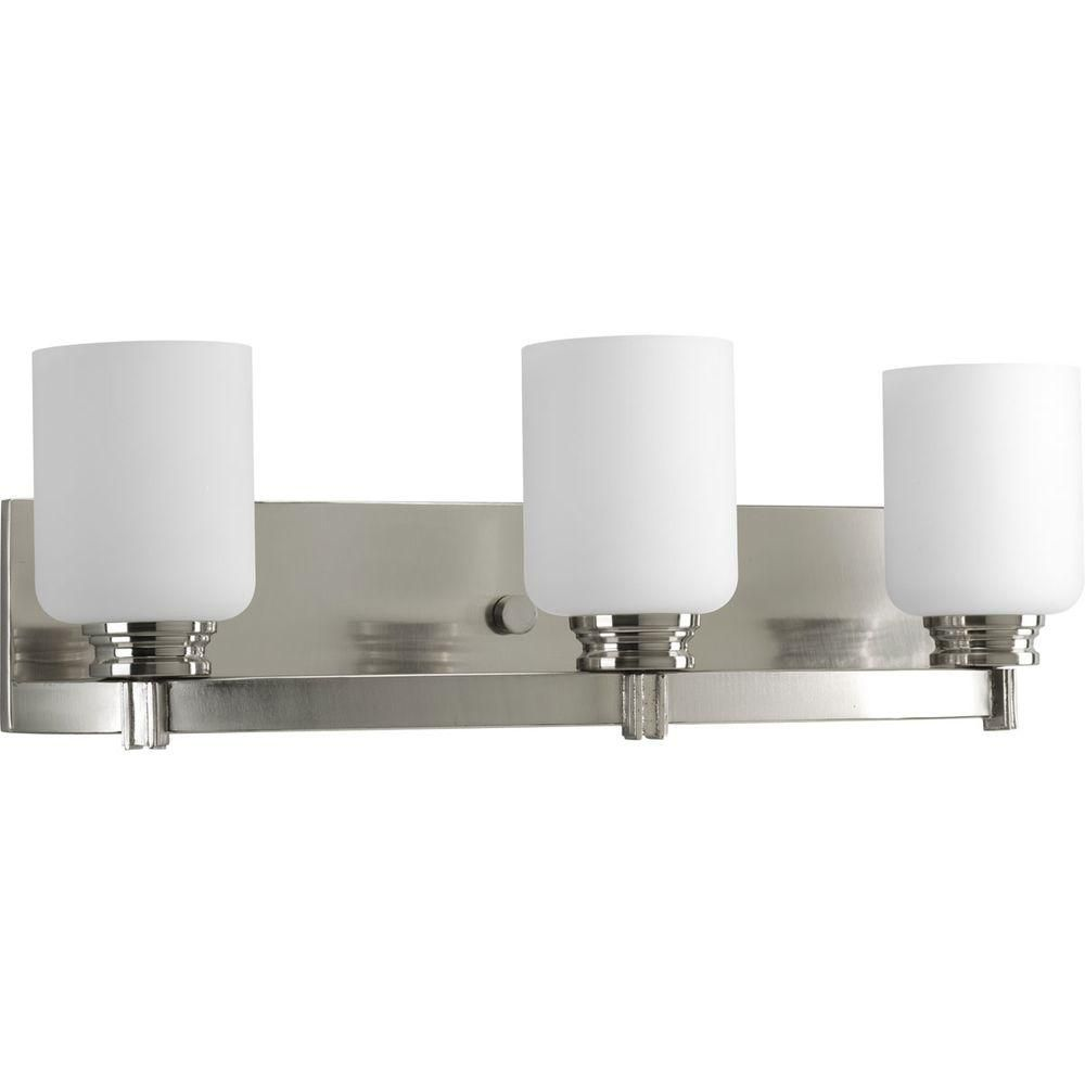 Progress Lighting Orbitz Collection 21 75 In 3 Light Brushed Nickel Bathroom Vanity Light With Glass Shades P2943 09di The Home Depot Vanity Lighting Bathroom Led Light Fixtures Bathroom Light Fixtures