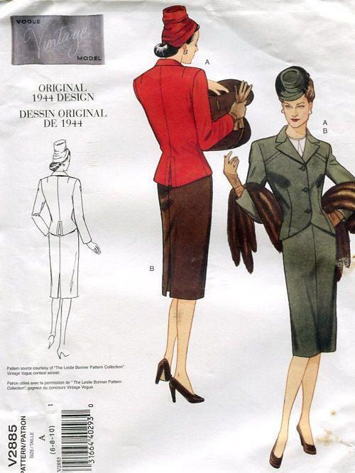 Vogue 2885 Retro 1940's 1944 Suit Jacket Skirt 2005 Reproduction Old Store Stock Uncut by LanetzLivingPatterns on Etsy