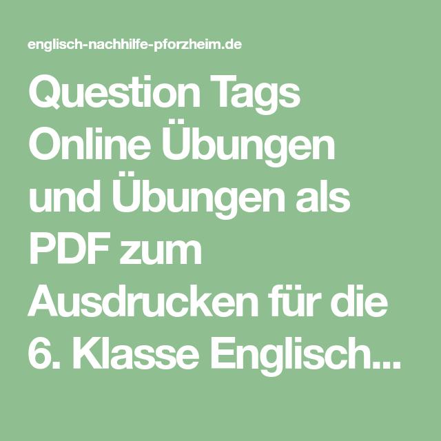Question Tags - Online Englisch Übungen für die 6. Klasse