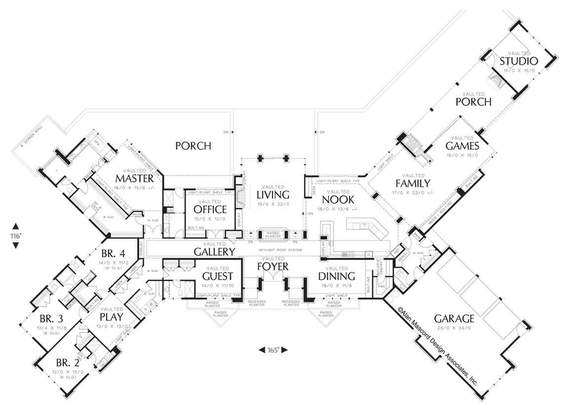 Prairie Home Plans | Prairie Home With Multiple Wings And Attached Studio Plan 1412