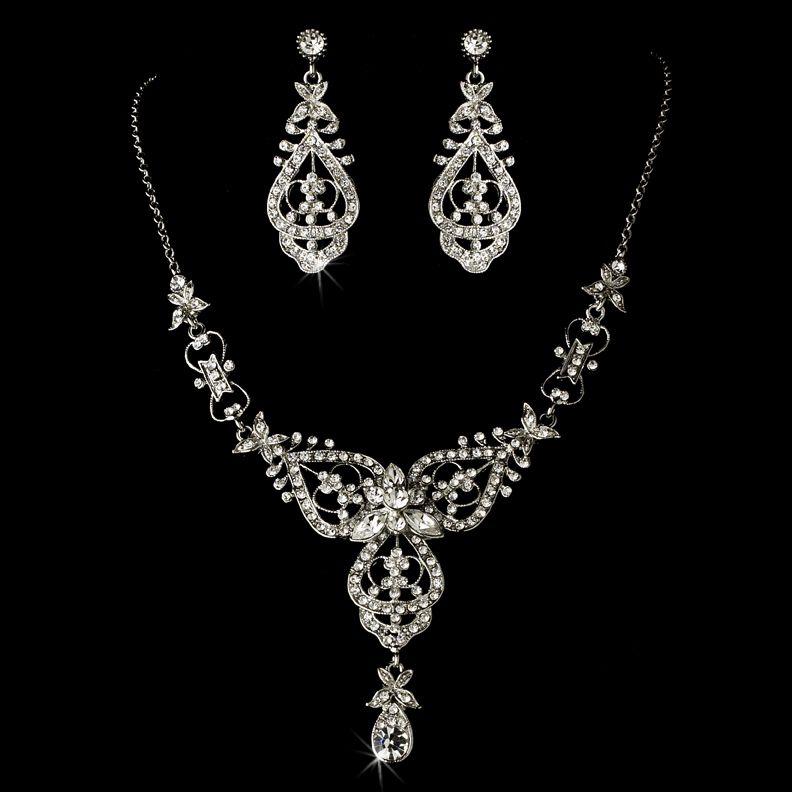 Charming Modern Vintage Silver Wedding Jewelry Set   Silver ...