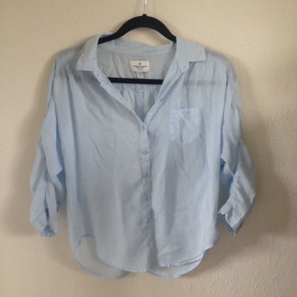 American Eagle Outfitters Shirt baby blue button down shirt. Cute oversized fit. Barely worn. American Eagle Outfitters Tops