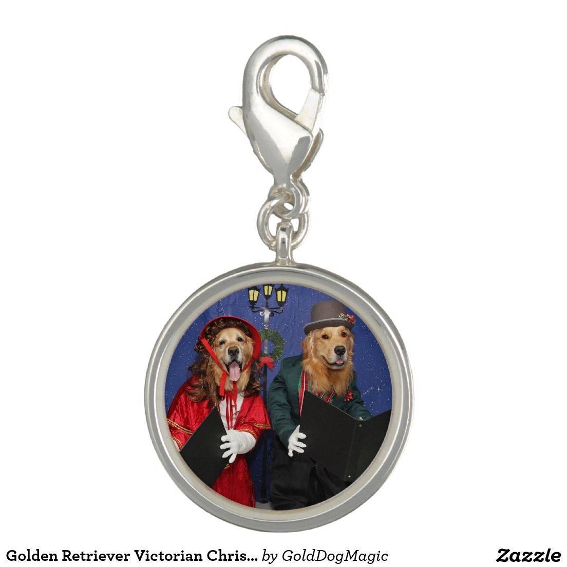 Golden Retriever Victorian Christmas Carolers Photo Charm