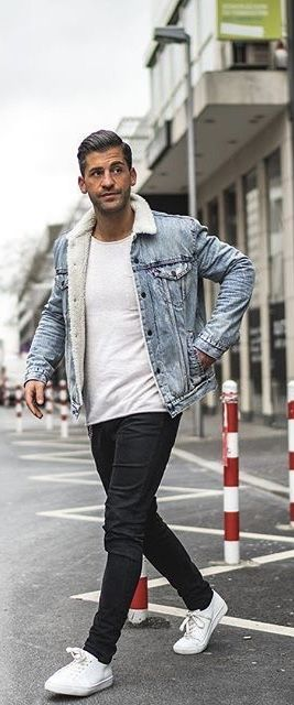 Kosta Williams With A Fall Combo Idea With A White T Shirt Light Wash Denim Jacket Black Denim White Mens Vest Fashion Fall Outfits Men Mens Casual Outfits