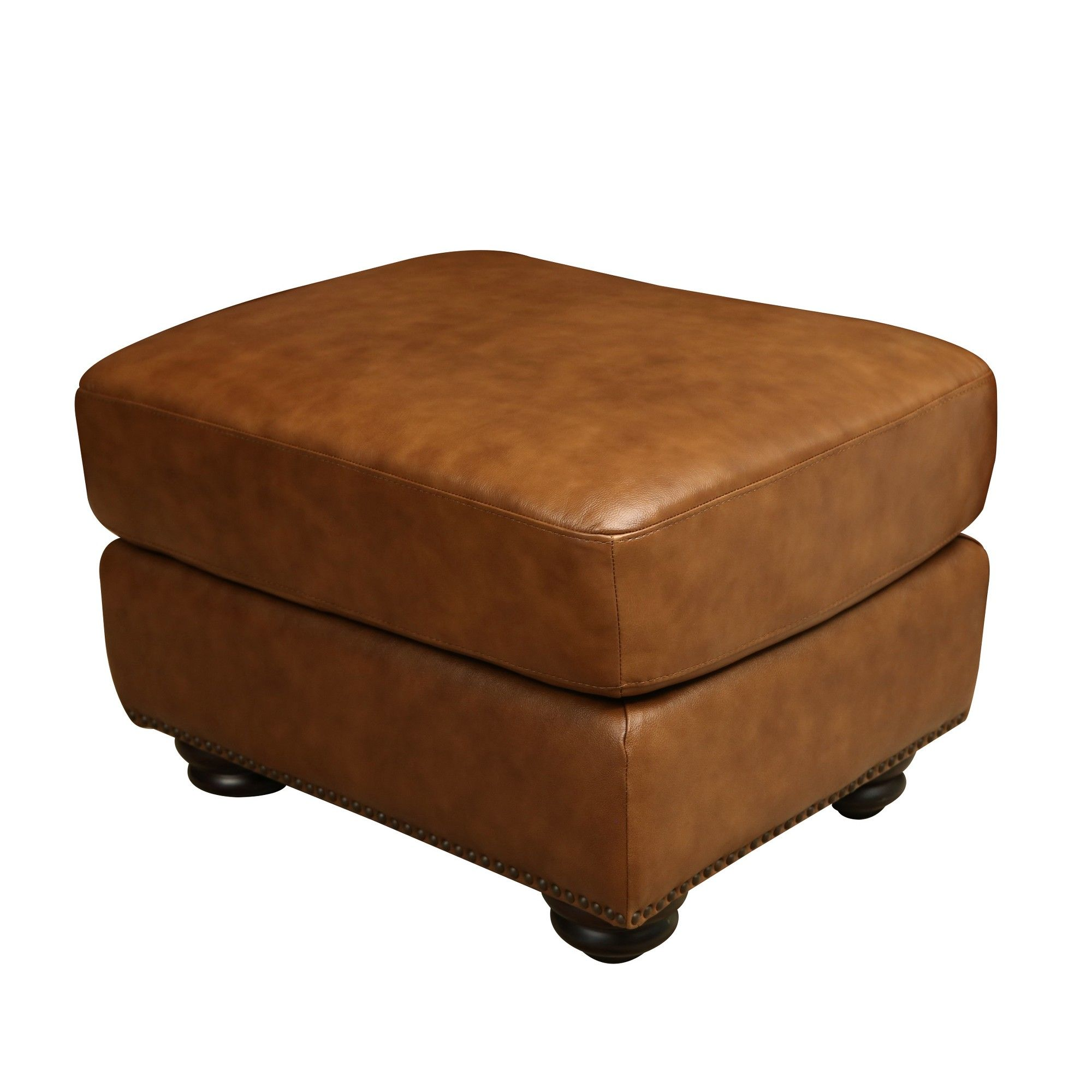 Cara Leather Ottoman Cognac Brown Abbyson Living Leather
