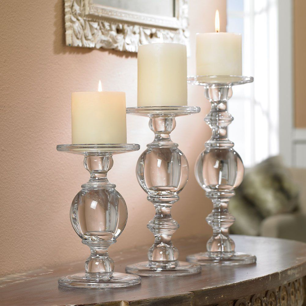 Set of three solid glass baluster pillar candle candlesticks