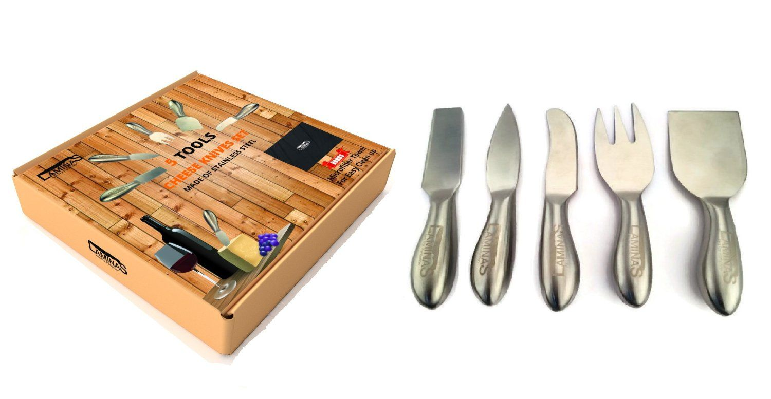 12CHEESE - FOR 15% OFF - Amazon.com: 5 Piece Stainless Steel Cheese Knives Set with Microfiber Cleaning Cloth in a Housewarming Gift Box, Exquisitely Designed to Hold, Cut, Shave, Slice, Spread & Serve All Types Of Cheeses by Laminas: Kitchen & Dining