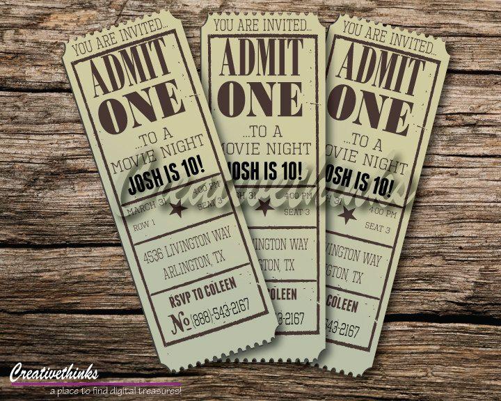 Editable Vintage Movie Ticket Invitation - Digital File - FULLY - movie ticket template free