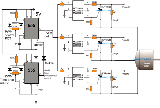 3 phase induction motor speed controller circuit using time proportional triac drive