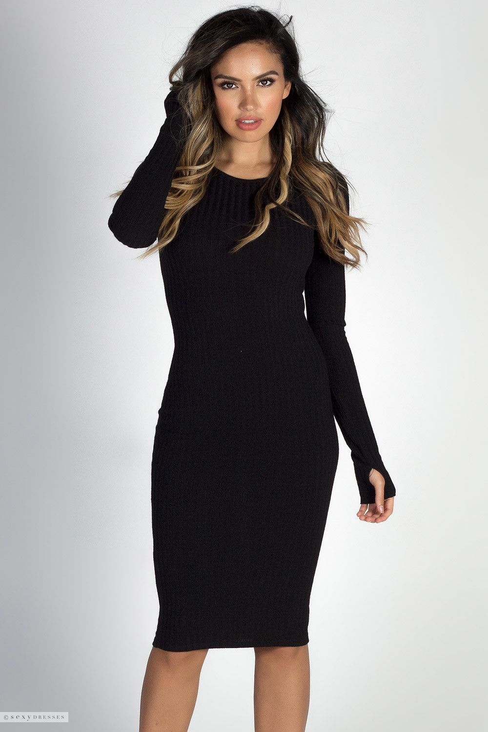 ab4002758d4 Bodycon Ribbed Knit Lightweight Black Sweater Dress with Thumb Hole Sleeves