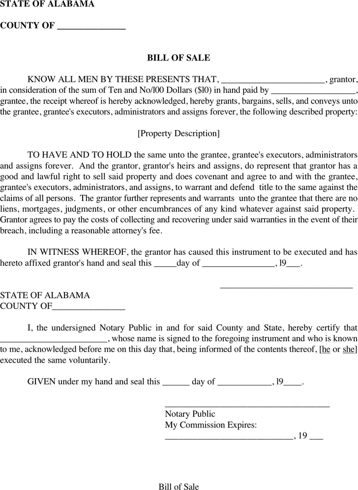 Alabama Bill Of Sale Form Download The Free Printable Basic Bill Of Sale Blank Form Template In Microsoft Word To Be Used As Bills Words Bill Of Sale Template
