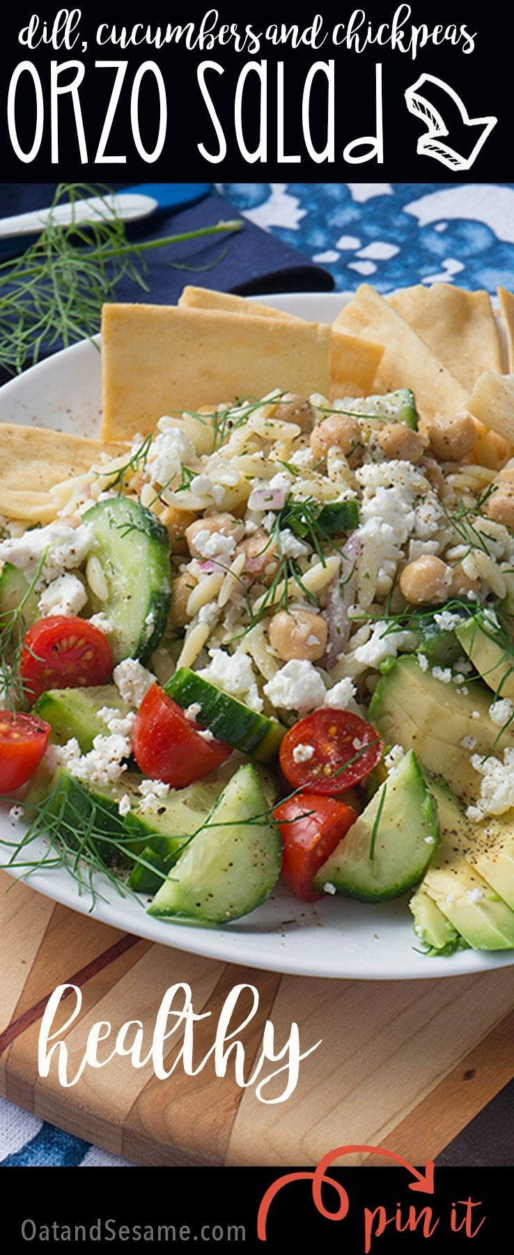 Fresh and Light Orzo Salad topped with cucumbers, chickpeas, dill | #Vegetarian | #Salad | #Lunch Time | #Recipes at OatandSesame.com