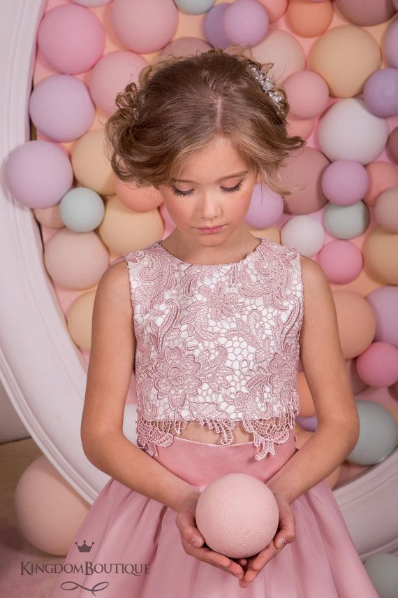 Blush Pink Lace Satin Flower Girl Dress - Wedding Party Holiday ...