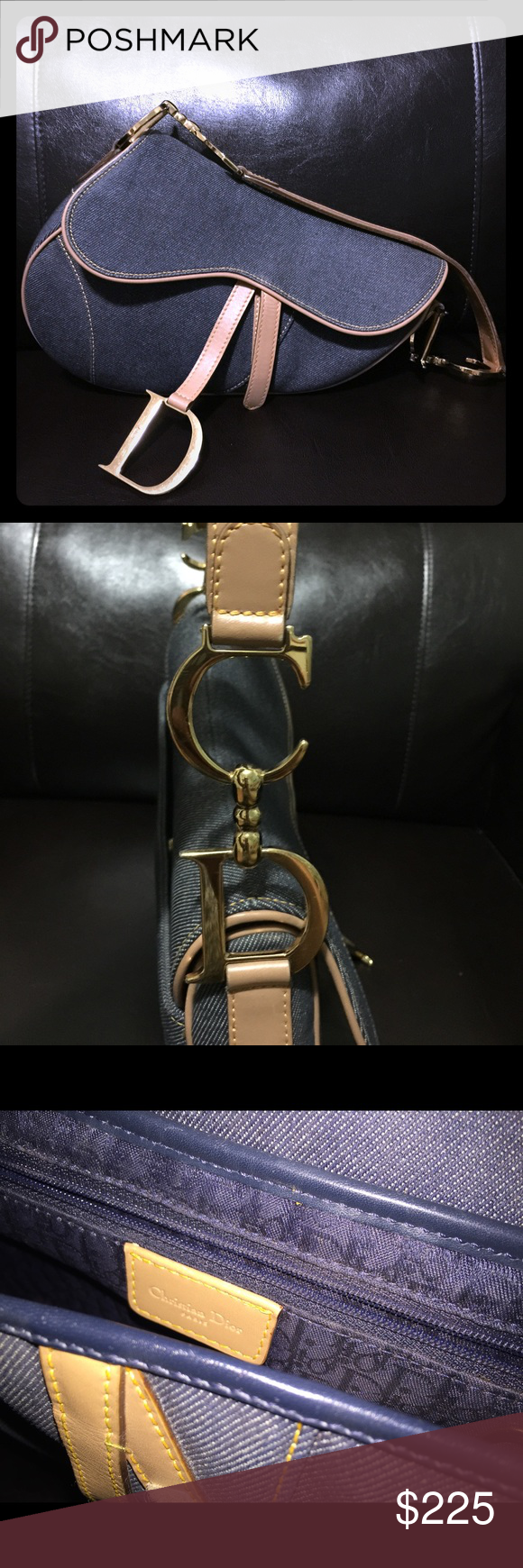 Dior denim saddle bag Great condition. Adds a special touch to any outfit. Clean inside and out. Dior Bags Shoulder Bags