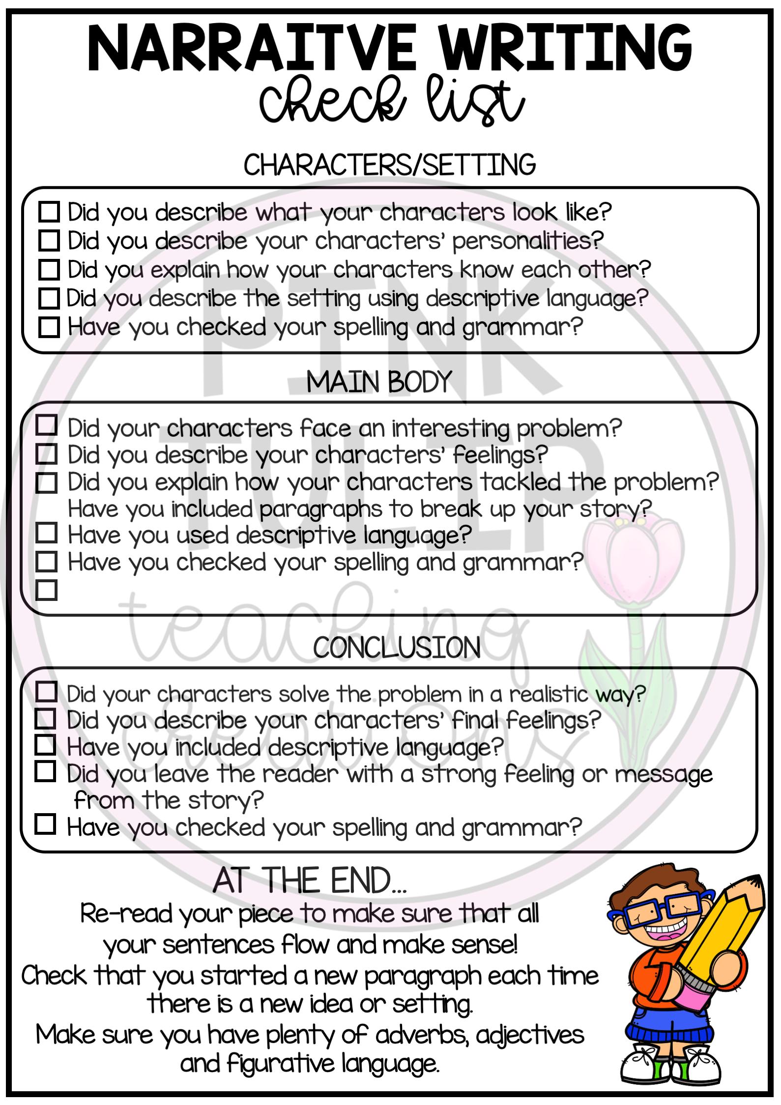 Narrative Writing Worksheet Pack No Prep Lesson Ideas Narrative Writing Narrative Writing Checklist Student Writing Samples [ 2249 x 1589 Pixel ]