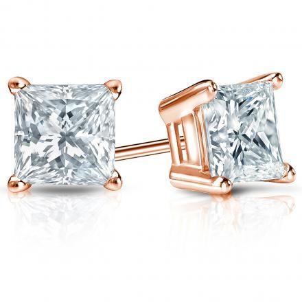 Stunning Handmade 14k Rose Gold 4-Prong Basket Princess-Cut Diamond Stud Earrings 1.00 ct. tw. (G-H, SI1)