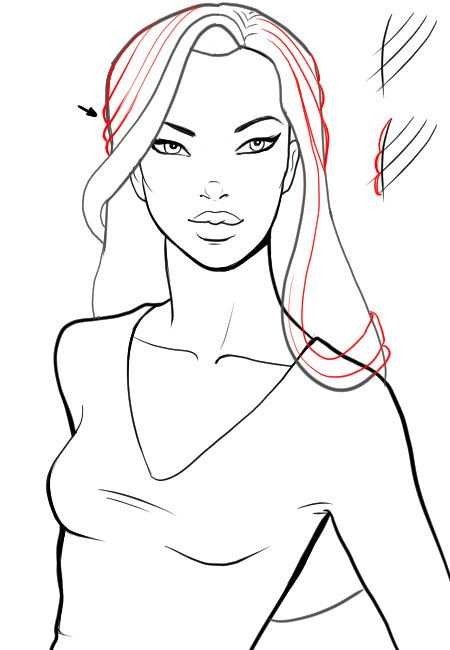 How to draw hair with glamorous curls | Hair references ...