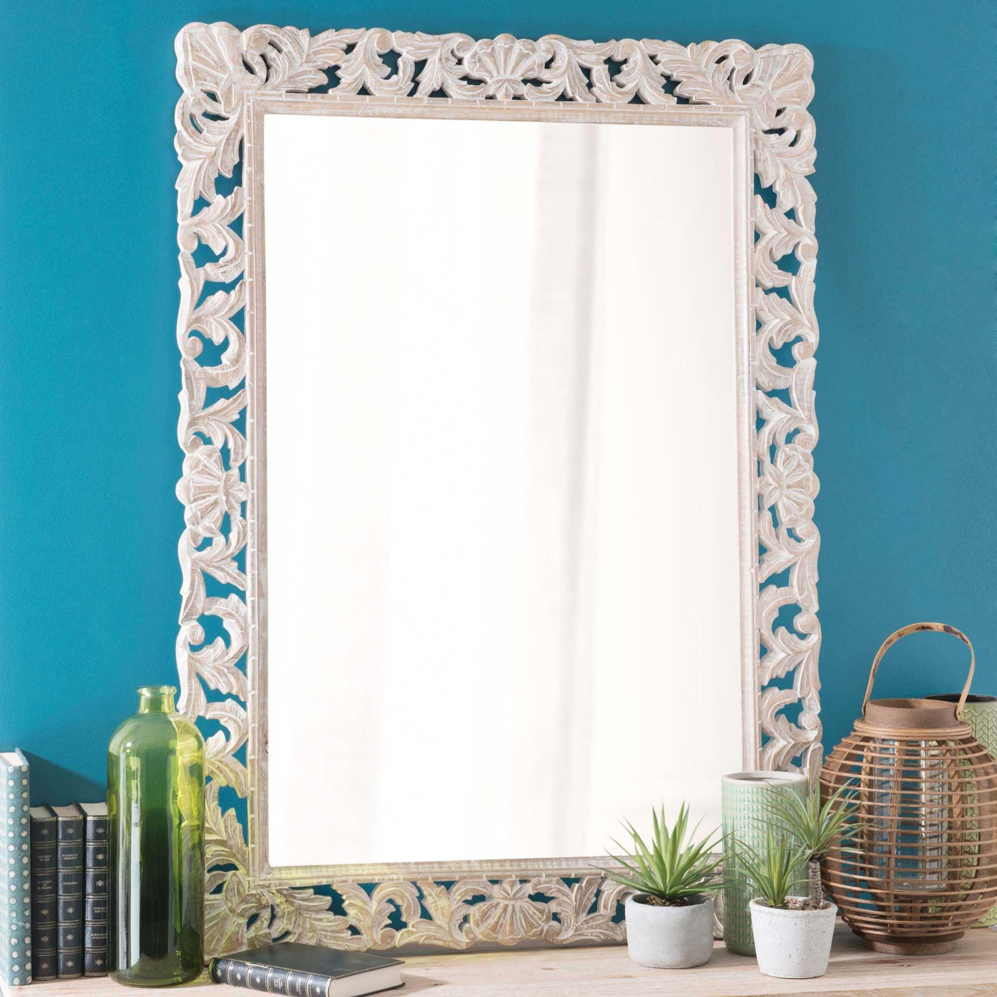 miroir en manguier blanchi 79x110 salle de bain wood mirror mirror et mango. Black Bedroom Furniture Sets. Home Design Ideas