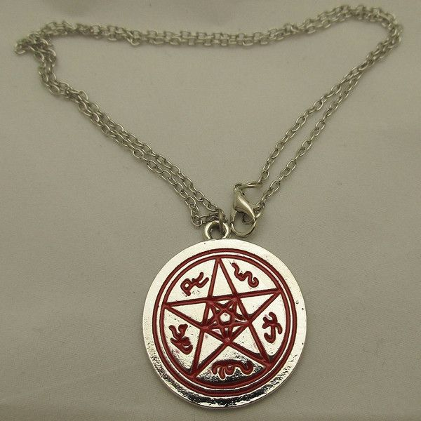 Supernatural Devil's Trap Amulet Antique Silver Charm Necklace ($14) ❤ liked on Polyvore featuring jewelry, necklaces, antique silver charms, charm necklace, antique silver necklace, charm jewelry and antique silver jewelry