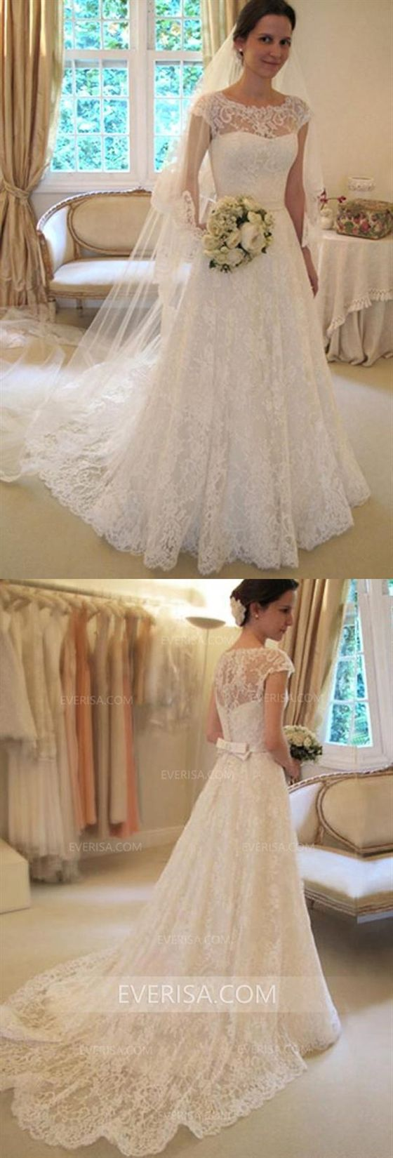 dacd67372d9d Elegant White A-Line Cap Sleeves Lace Wedding Dresses Cheap Bridal Gown  With Bowknot #wedding #white #lace #dresses