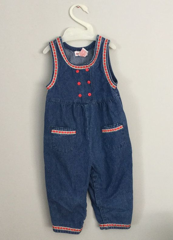 e8648b190cd ... Girls Denim Romper on Etsy. Vintage años 80 años 90 chicas mezclilla  mameluco 3t 4t