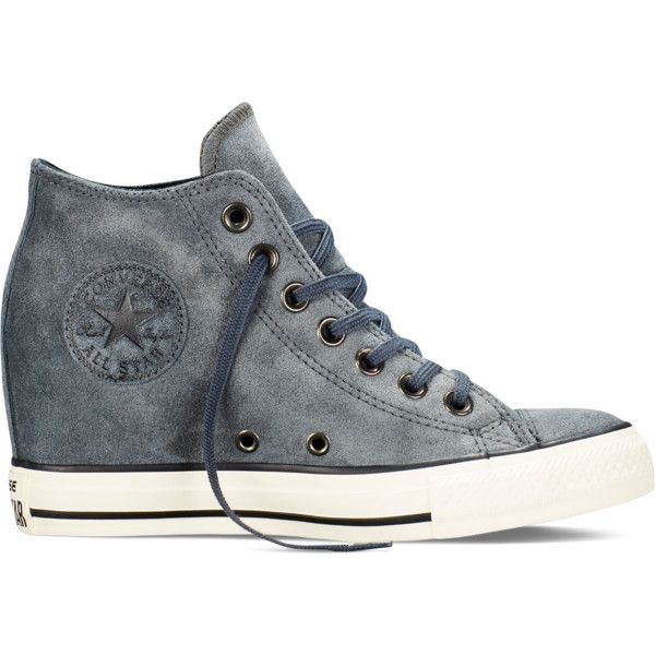 Converse - Chuck Taylor All Star Lux Wedge Suede - Charcoal - Mid ( 73) ❤  liked on Polyvore featuring shoes 7fc5786390