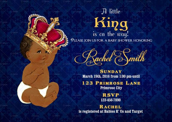 image about Free Printable African American Baby Shower Invitations called African American Boy Youngster Shower Invitation King Child Boy