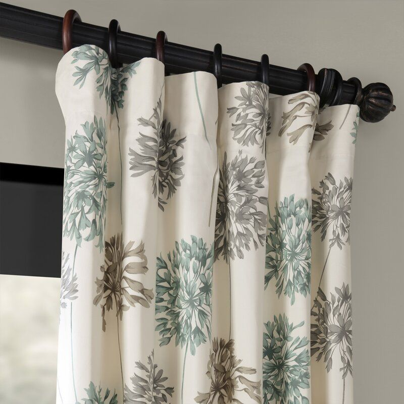 Allium Printed 100 Cotton Floral Rod Pocket Single Curtain Panel In 2020 Printed Cotton Curtain Curtains Panel Curtains