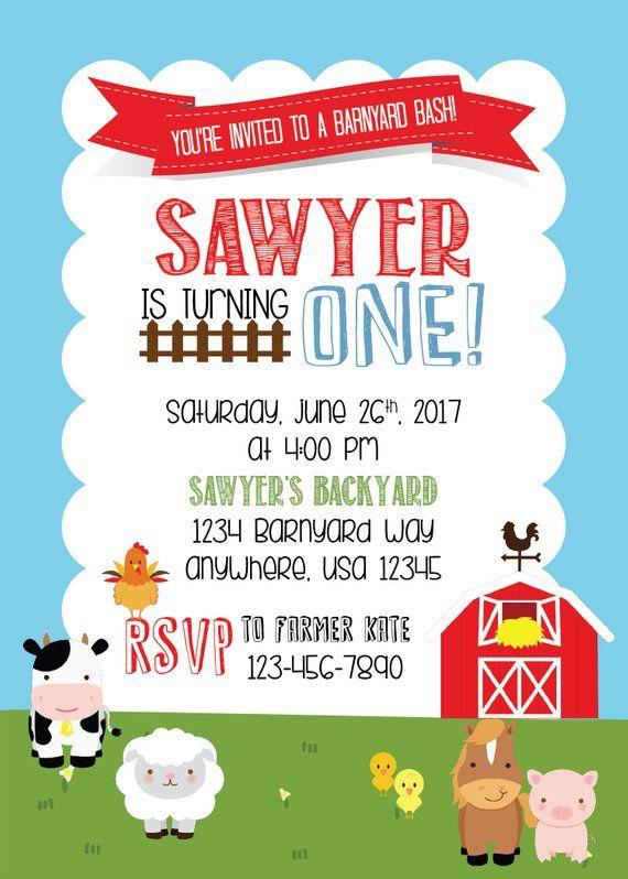 Farm Party Birthday Invitation Printable Personalized Barnyard Invite Themed