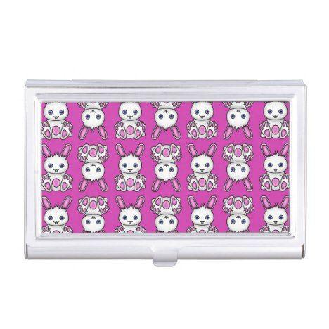 Kawaii pink bunny pattern business card case business card case kawaii pink bunny pattern business card case colourmoves