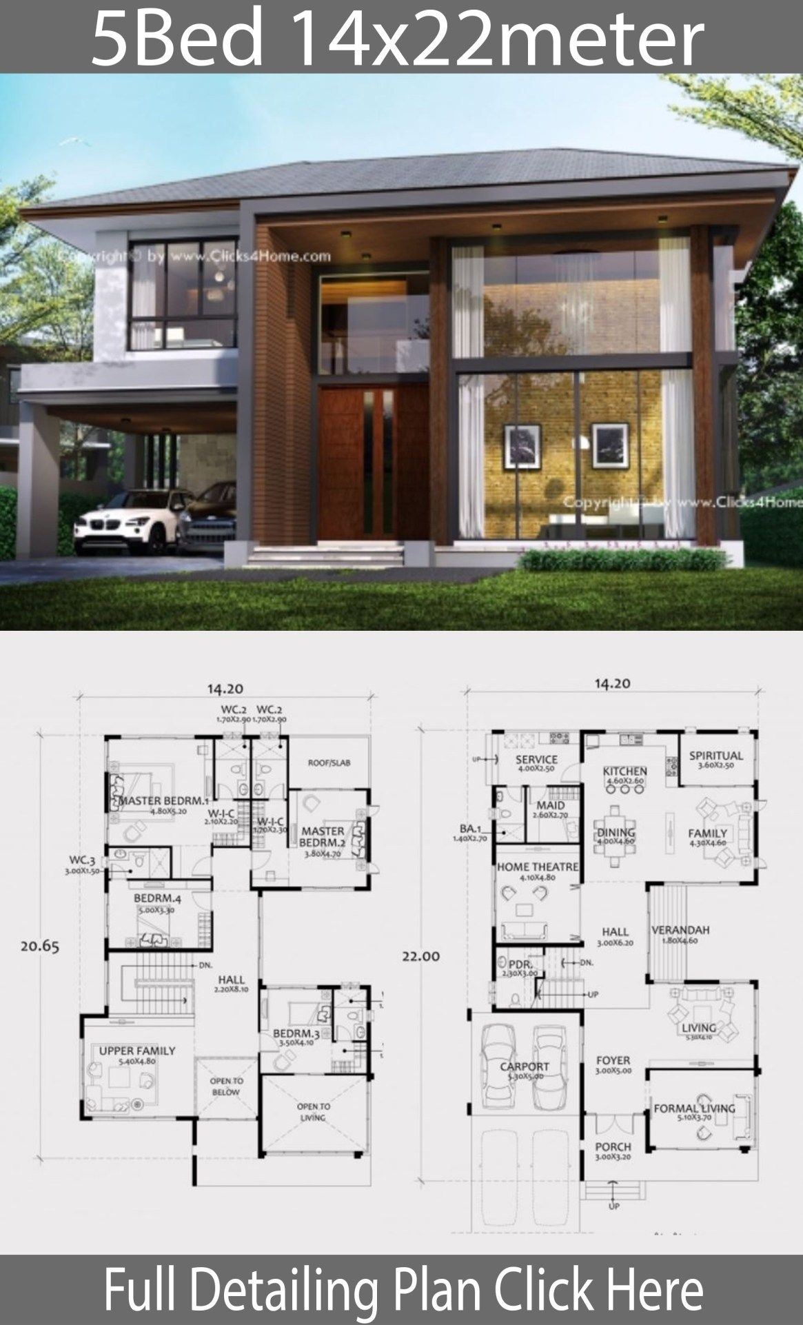 Home Design Plan 14x22m With 5 Bedrooms Home Design With Plansearch Architecture Model House Model House Plan Architectural House Plans