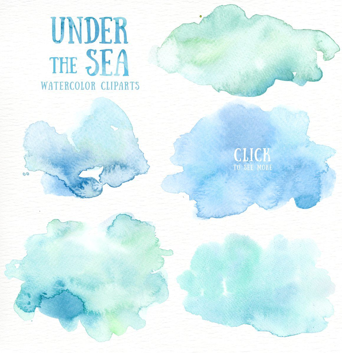 Under The Sea Watercolor Cliparts Wedding Perfect Greeting