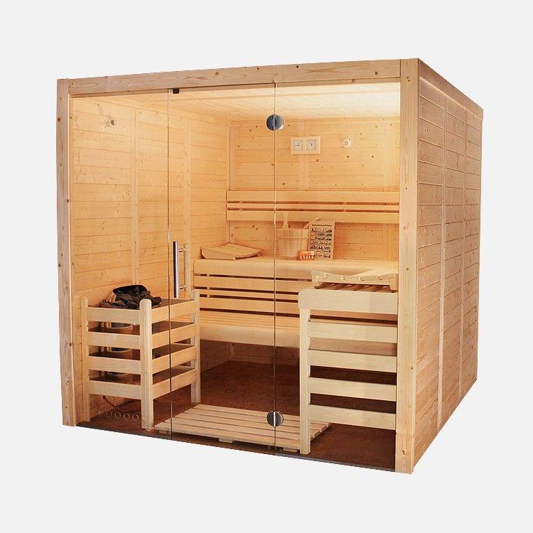 """Unsere modernen Massivholzkabinen """"Vitrum Massiv"""" (Made in Germany) bestechen durch Ihre beindruckenden Glasfronten als optisches Highlight. Einfach aufheizen und entspannen. #sauna #wellness"""
