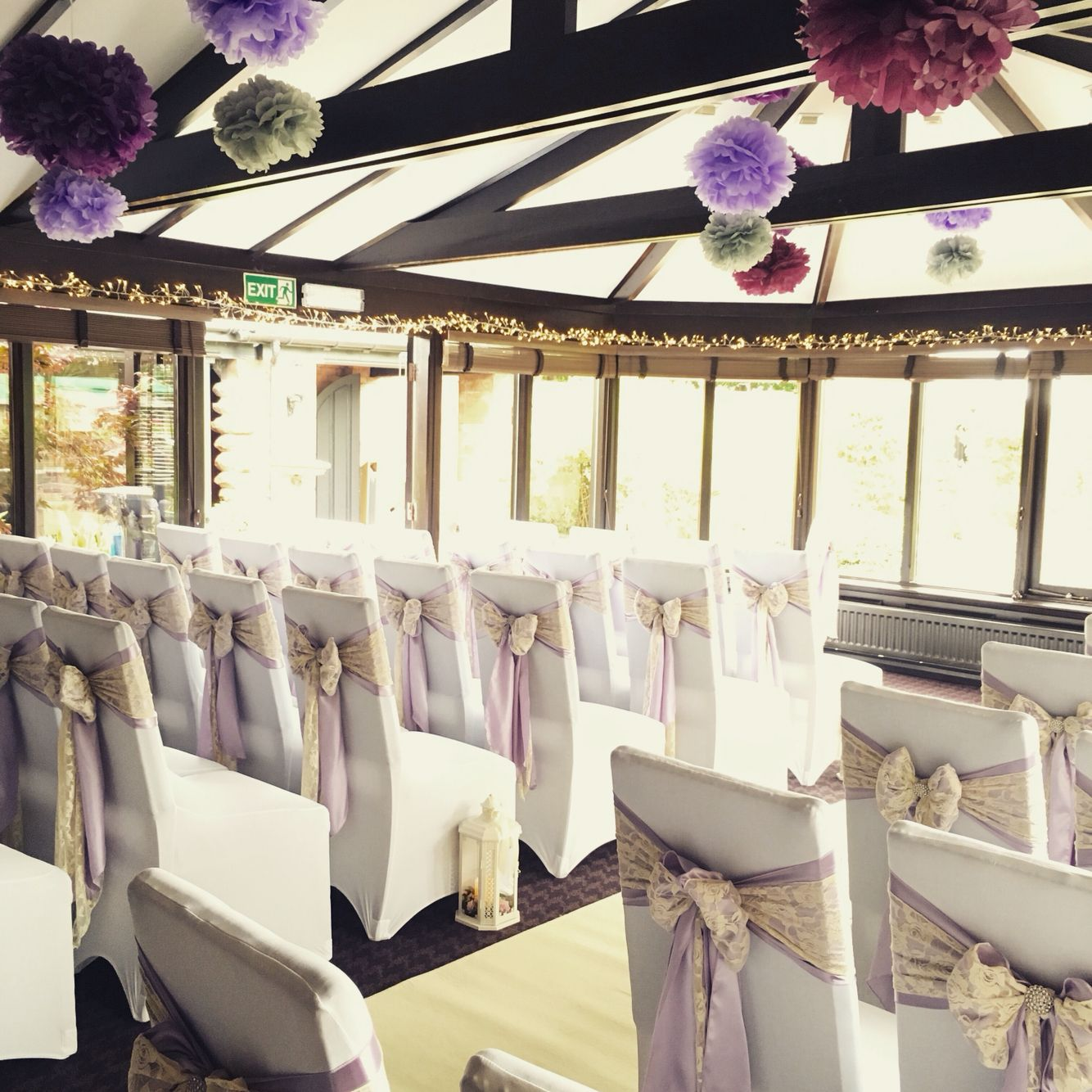 Wedding Chair Covers Lilac Zero G Human Touch Satin Sash With A Lace Overlay