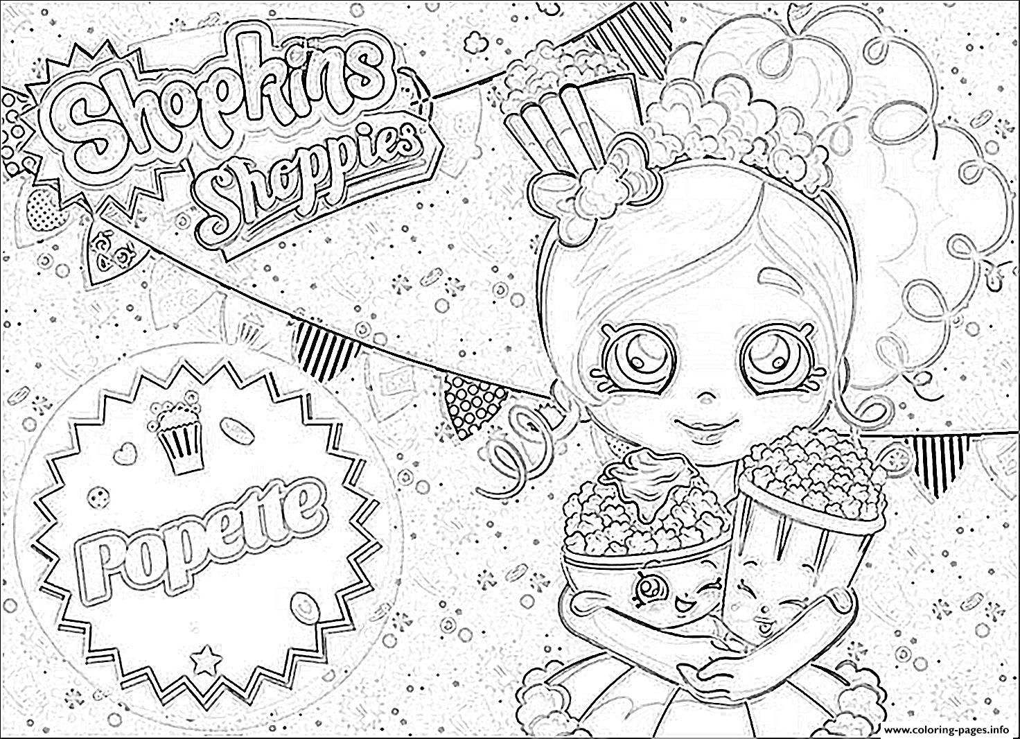 Shopkins Popette Official Coloring Pages Free Printable Color