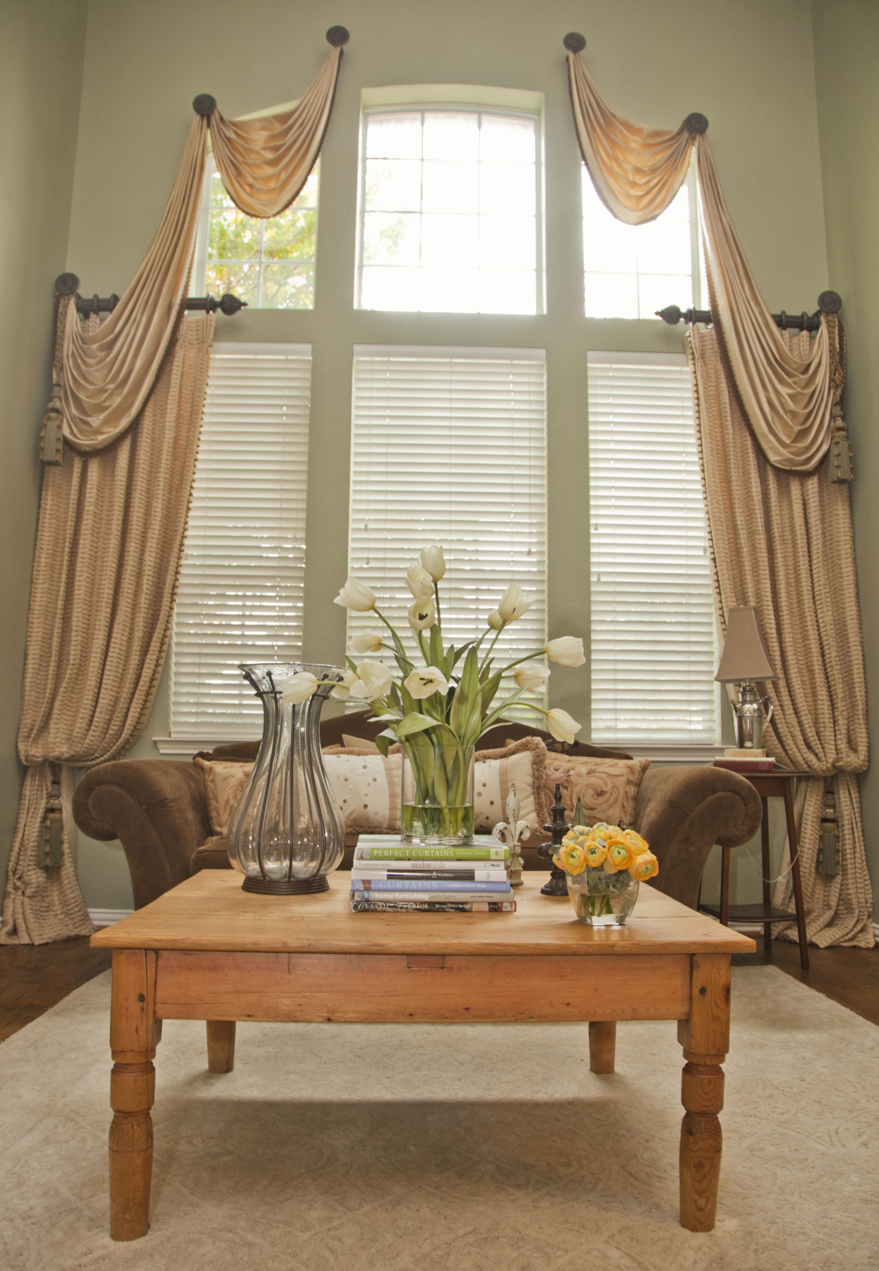 Tiered Medallian Mount Swags Paired With Double Width Drapery And