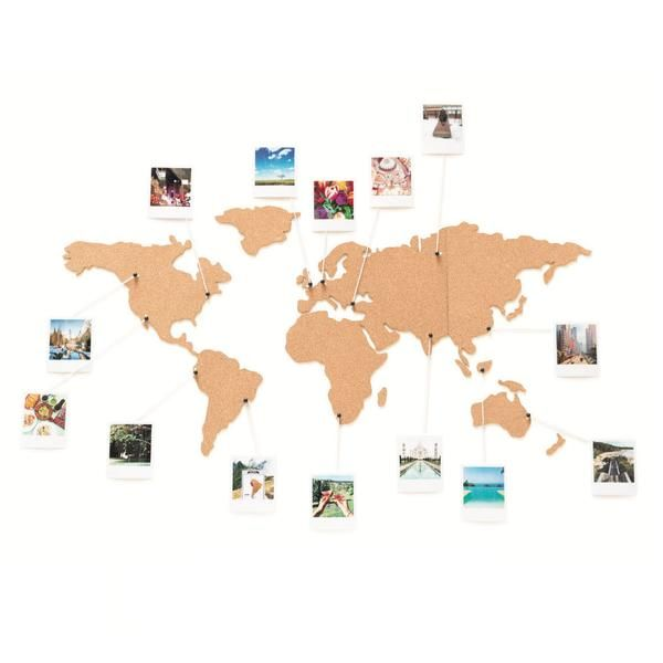 Corkboard map diy picture collage diy travel fun pinterest corkboard world map adhesive cork map of the world you can pin your travel photos tickets plan a trip of a lifetime sciox Image collections